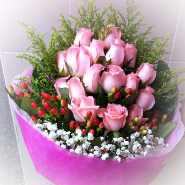 15 Pink Rose Bouquet The Vine Florist
